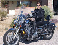 Dave on his touring bike in Tucson, AZ. At that time he was CEO of his own corporation, Digital Web Group, Inc.