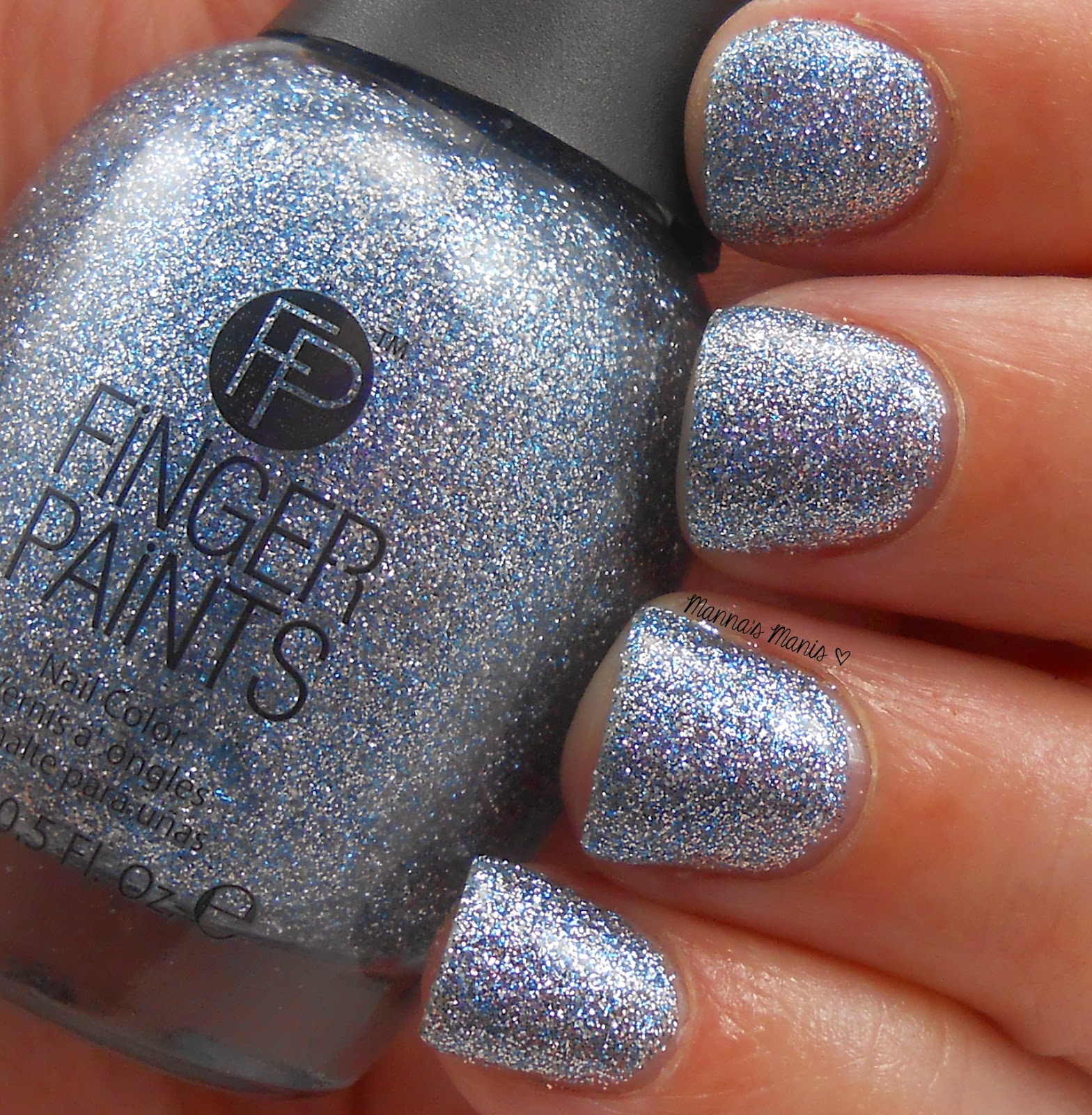 fingerpaints Ho Ho Happy Holidays, a full coverage bluish silver microglitter nail polish