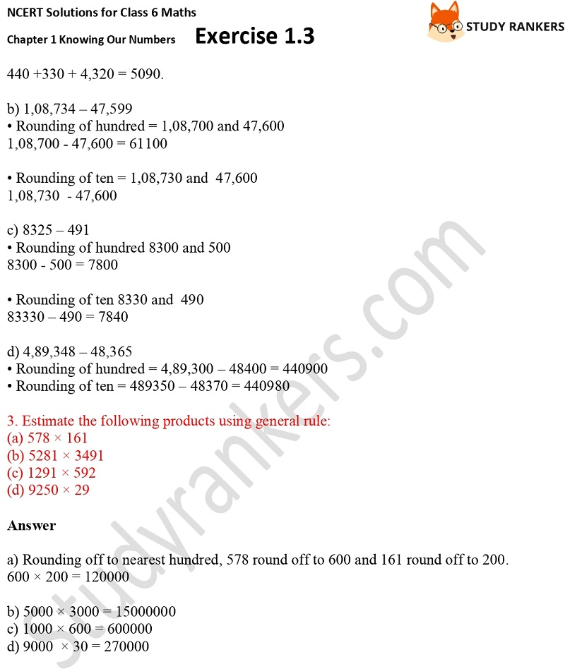 NCERT Solutions for Class 6 Maths Chapter 1 Knowing Our Numbers Exercise 1.3 Part 2