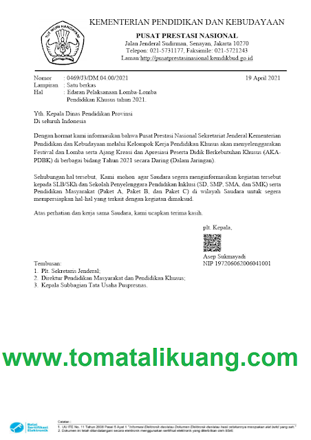 jadwal pelaksanaan lomba pendidikan khusus tahun 2021 tomatalikuang.com