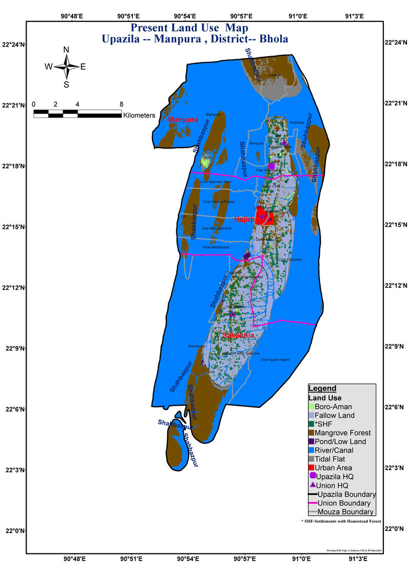 Monpura Upazila Land Use Mouza Map Bhola District Bangladesh