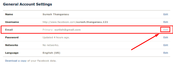 Change email on facebook account