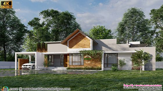 One floor tropical home design side view