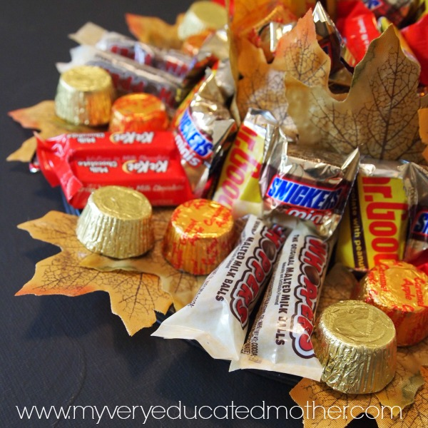 11 Thanksgiving Table Decor Ideas featuring Fall Candy Centerpiece from My Very Educated Mother