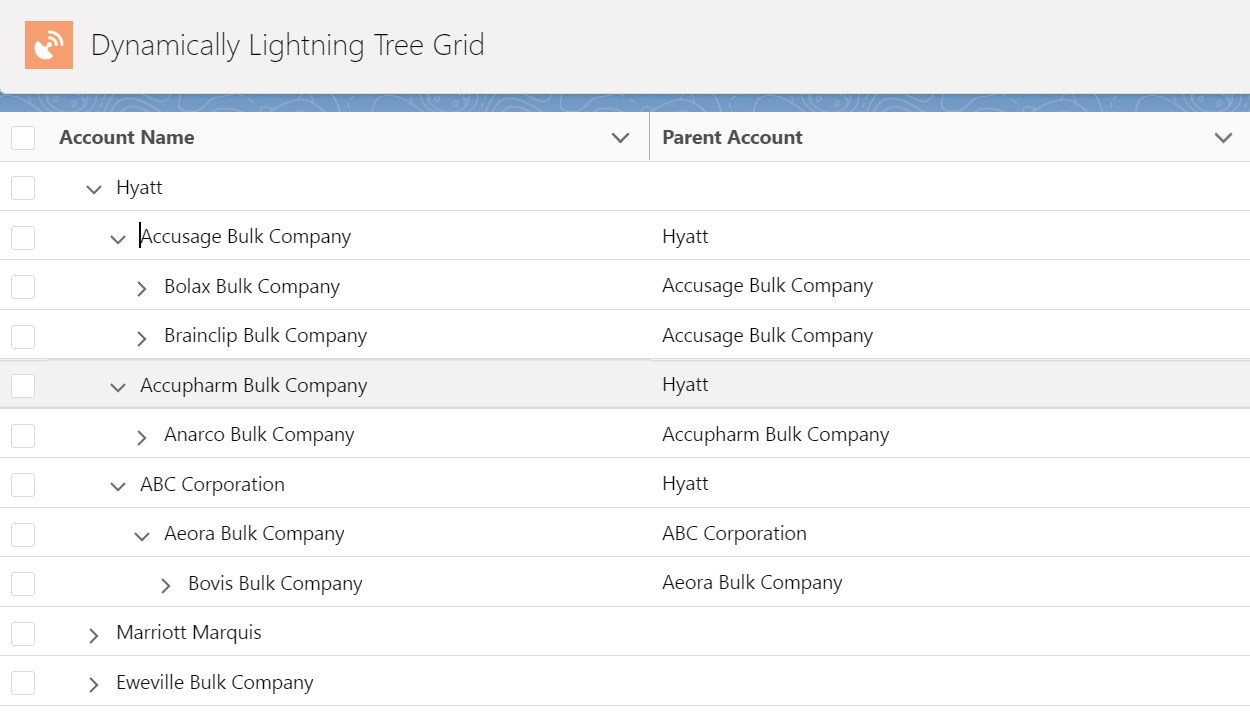 Account Hierarchy with Lazy Loading Tree Grid