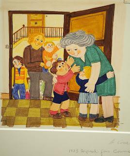 Il·lustració: A casa dels avis 1973 -  Original. Fons Carme Solé Vendrell_Exposició al Palau Robert (2018) per Teresa Grau Ros