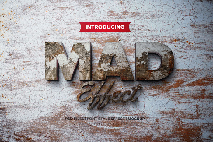 MAD 3D Text Effects PSD Mockup