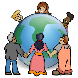 Group of six ethnically diverse cartoon characters holding hands around a globe