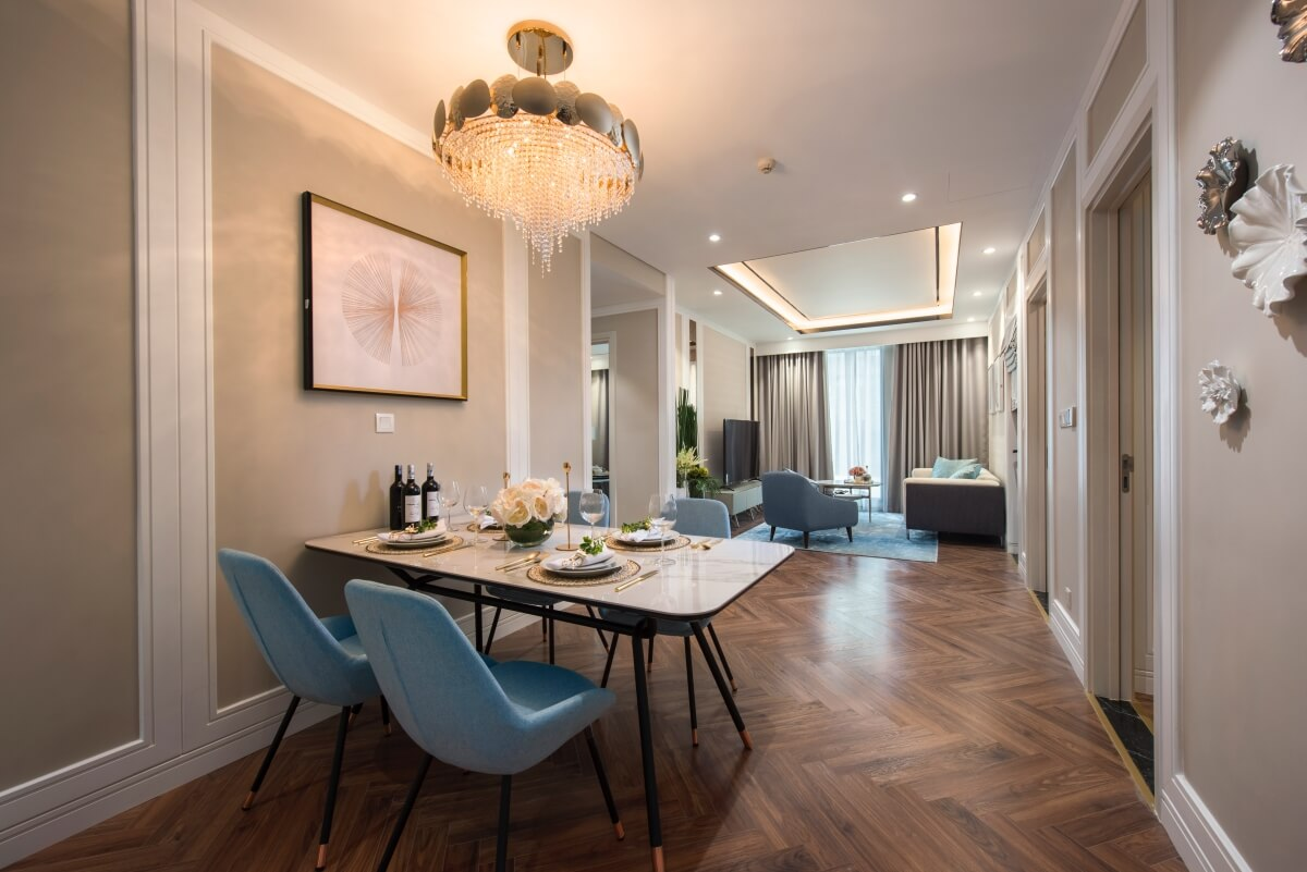 Phòng khách căn mẫu dự án 108 Nguyễn Trãi