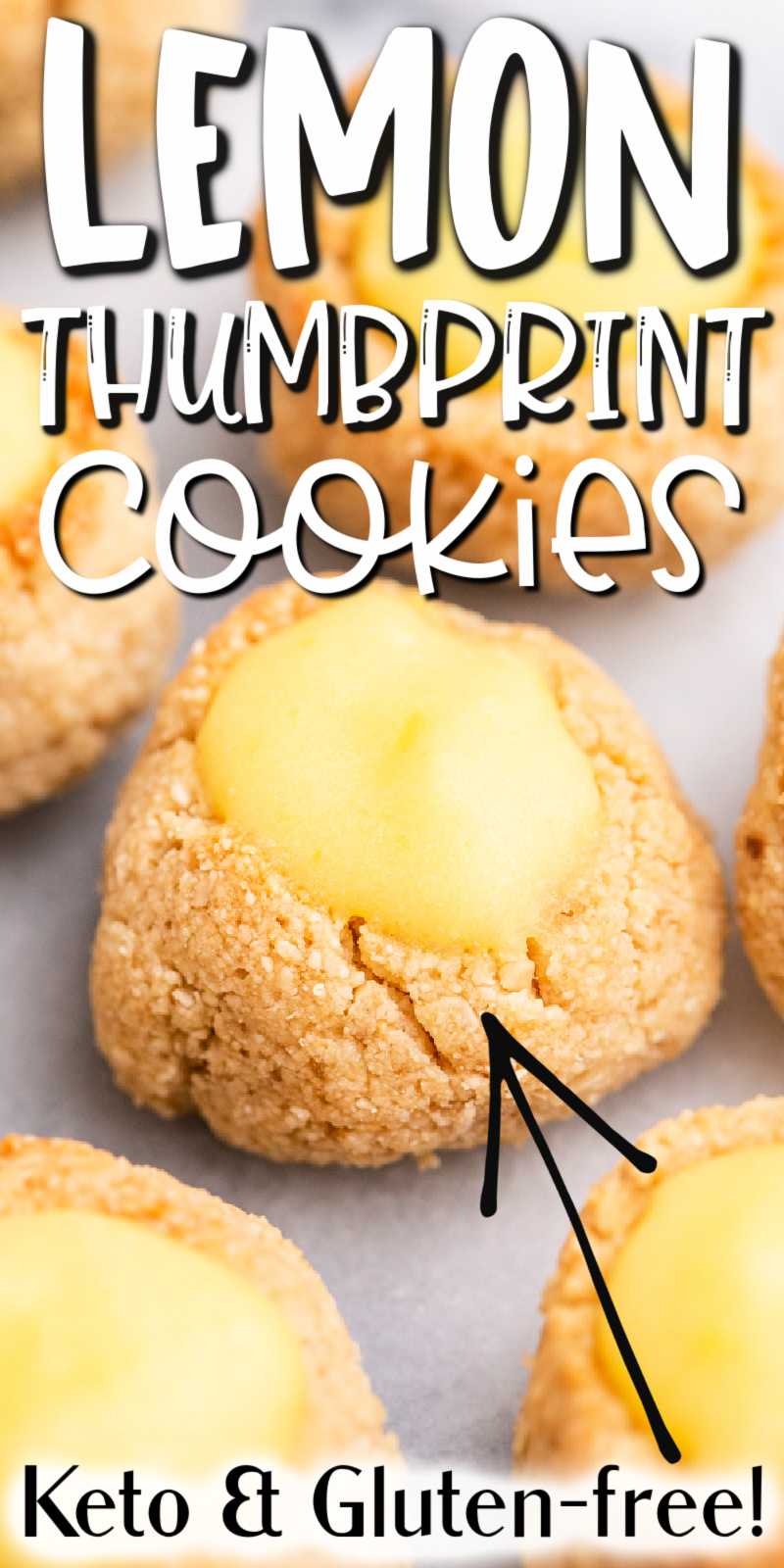 Keto Lemon Thumbprint Cookies - These keto lemon thumbprint cookies are the perfect addition to your spring party and picnic menu! #keto #lowcarb #glutenfree #sugarfree #lemon #thumbprint #cookies #spring #easter