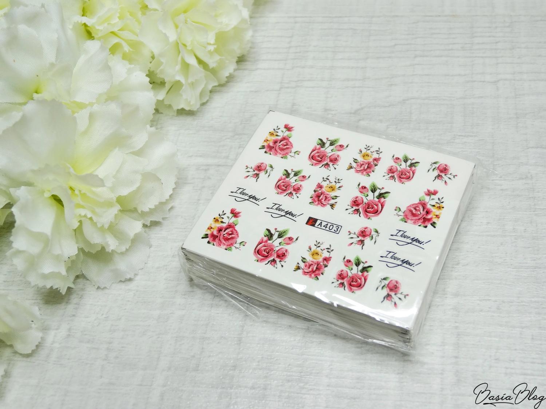 AliExpress haul, zakupy z AliExpress, ozdoby do paznokci, gadżety, naklejki wodne małe kwiaty, nail stickers flowers mix
