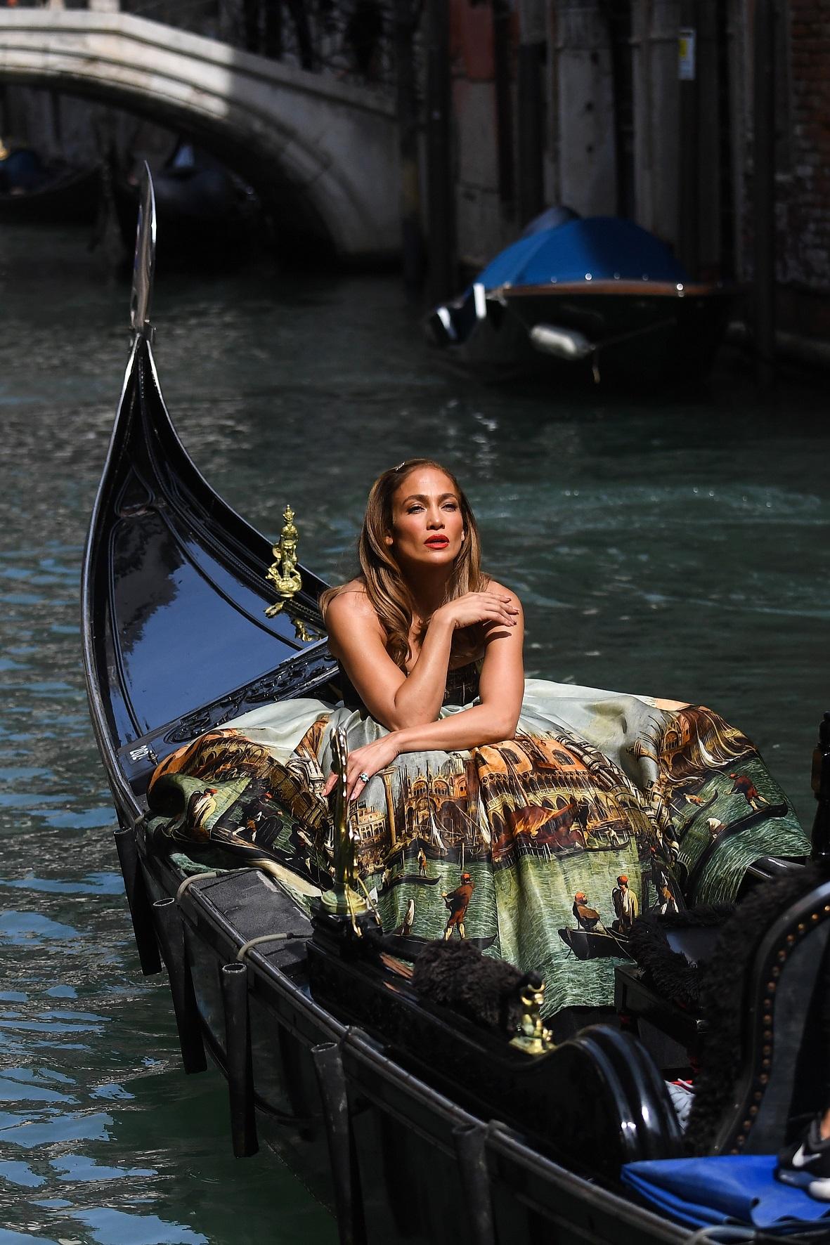 Jennifer Lopez Climbs in Gondola During Photoshoot in Venice