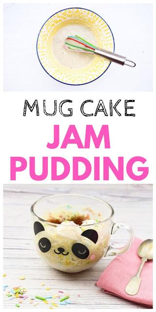 Easy Microwave Jam Sponge Pudding  - Mug Cake
