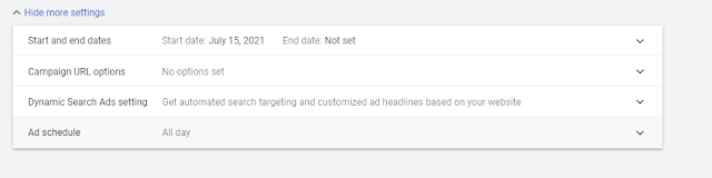 Show More Settings in Google Ads Campaign