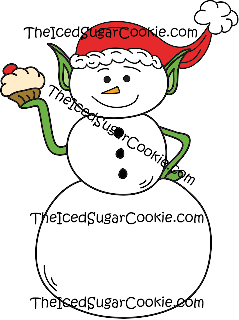 Snowman Elf Holding Cupcake Clipart Illustrations Clip Art Drawings Cartoons Pictures Images