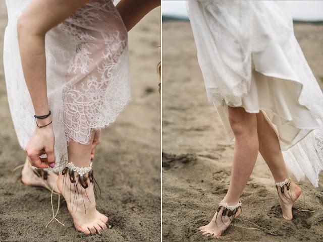Piórkowe bransoletki na stopy