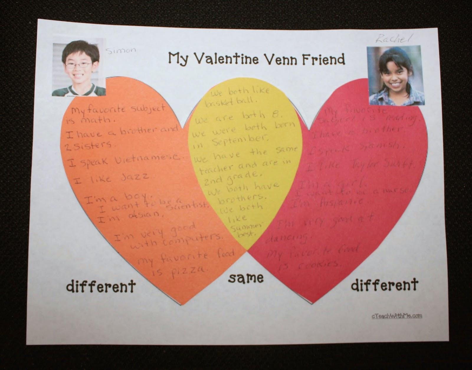 Venn Diagram Bulletin Board Tel Tach Wiring Classroom Freebies Valentine Friends