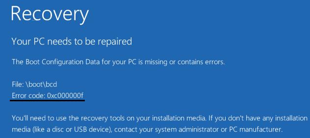 pada windows merupakan salah satu bentu error blue screens of death yang kapanpun bisa kamu  Cara Mengatasi Error Code 0xc000000f Pada Windows