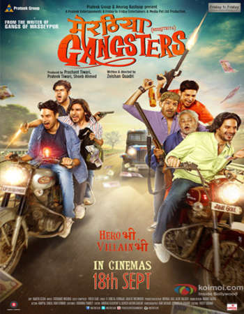Poster Of Meeruthiya Gangsters 2015 Hindi 350MB HDRip 480p Watch Online Free Download Worldfree4u