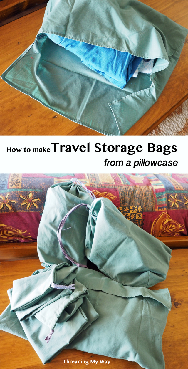 Learn how to make a set of travel storage bags for next to no cost - shoe bag, laundry bag, socks bag, lingerie bag, dirty clothes bag. Tutorial by Threading My Way