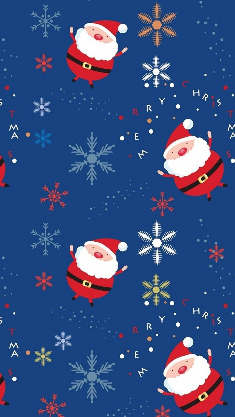 Christmas Santa Pattern HD Wallpaper for iPhone