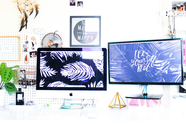 Blogger Desk Tour 2016 Updated Ikea Micke Desk White Peg Board Prayer Plant Wire Basket Urban Outfitters iMac