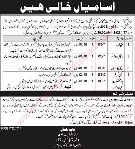 New Jobs in Pakistan Agriculture Department Peshawar KPK Jobs 2021