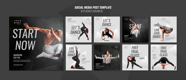 Studio dance social media post template Free Psd