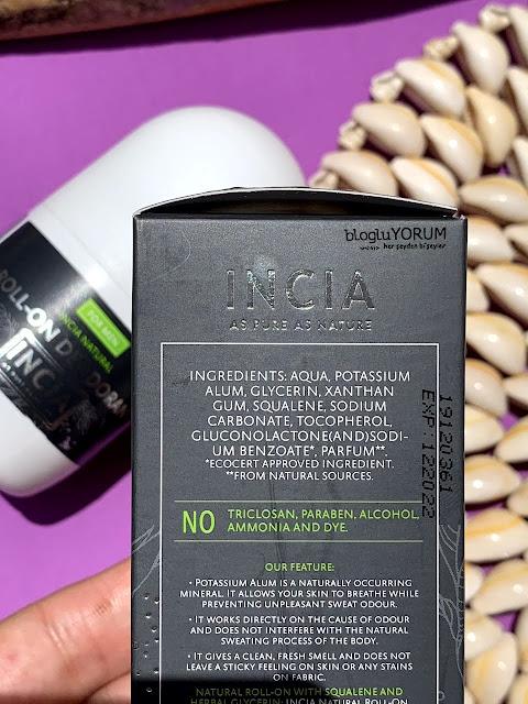INCIA Erkekler İçin Doğal Roll-On Deodorant içerik