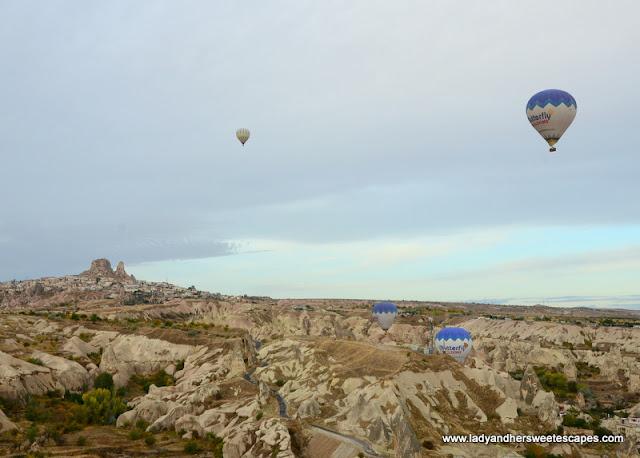 Hot air balloons near Uchisar