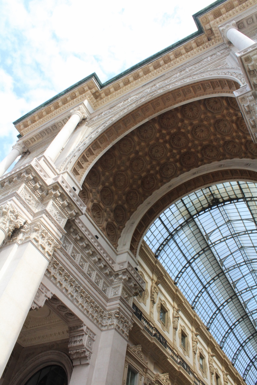Architecture of archways in Galleria Emanuele Vittorio II in Milan