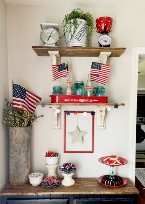 July 4th Dessert Bar - DIY dessert stand and candy dishes from thrifted dishes
