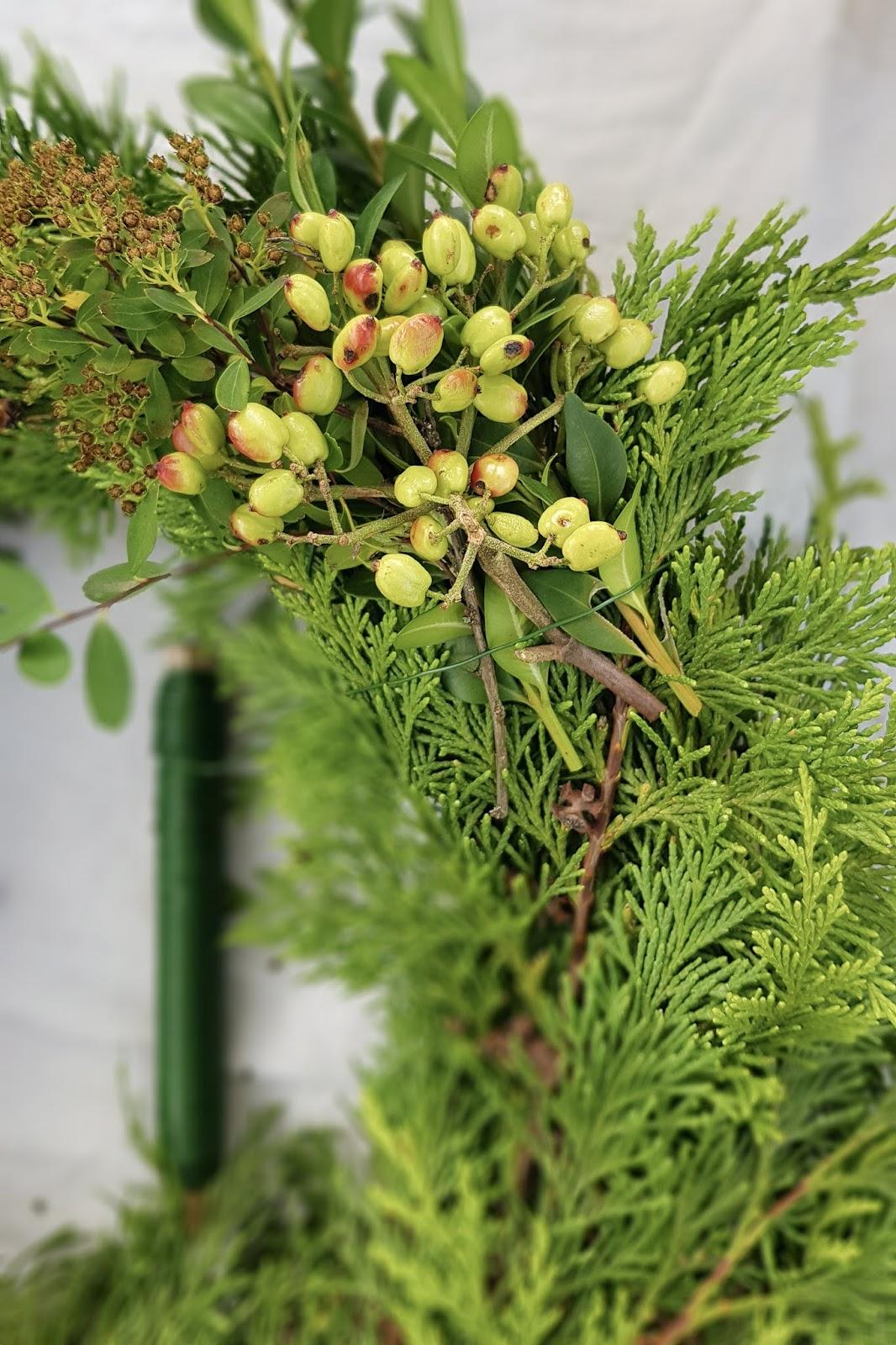 Kranz aus Beeren für den Herbst: Anleitung DIY zum Binden eines Kranzes aus Früchten des Schneeballs, Buchs und Thuja. Einfach selber machen. Kranzbinden Herbstdeko Dekoidee