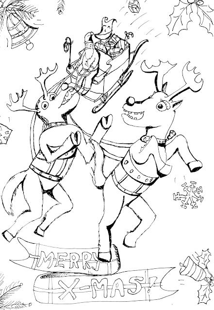 Kerstkleurplaat Slim Slabbetje in de arreslee met de kerstman