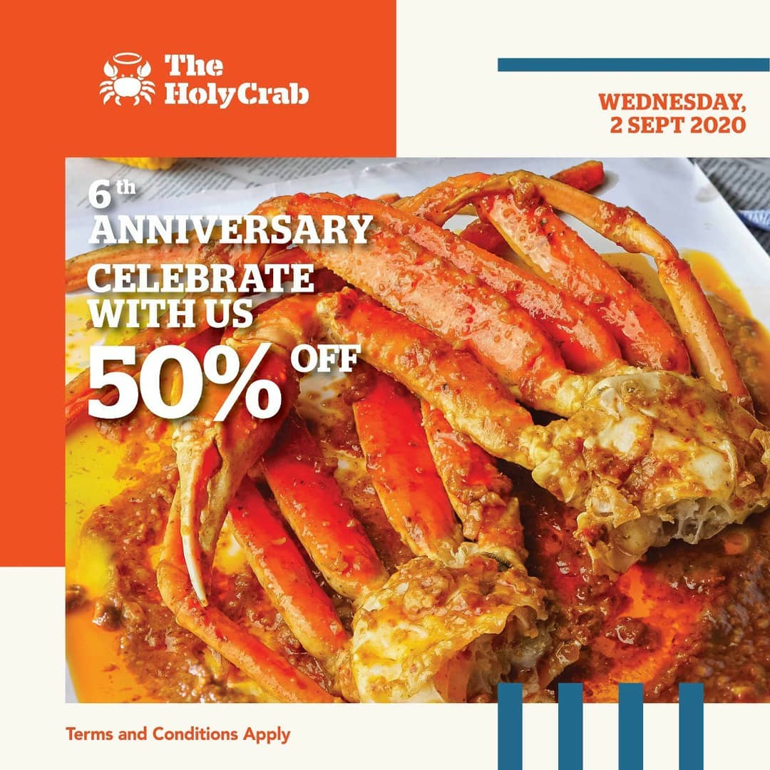 Promo The Holy Crab 6th Anniversary Discount 50% Off For All Items