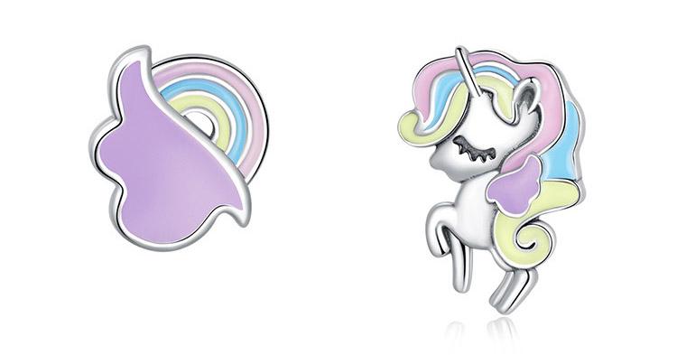 夢幻彩虹雲朵獨角馬 925純銀滴釉耳環