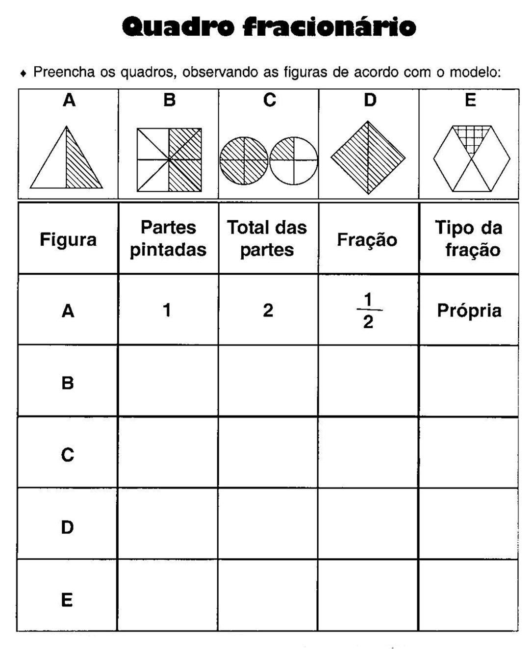 Excepcional Escola Saber: Atividades com frações para imprimir TJ83