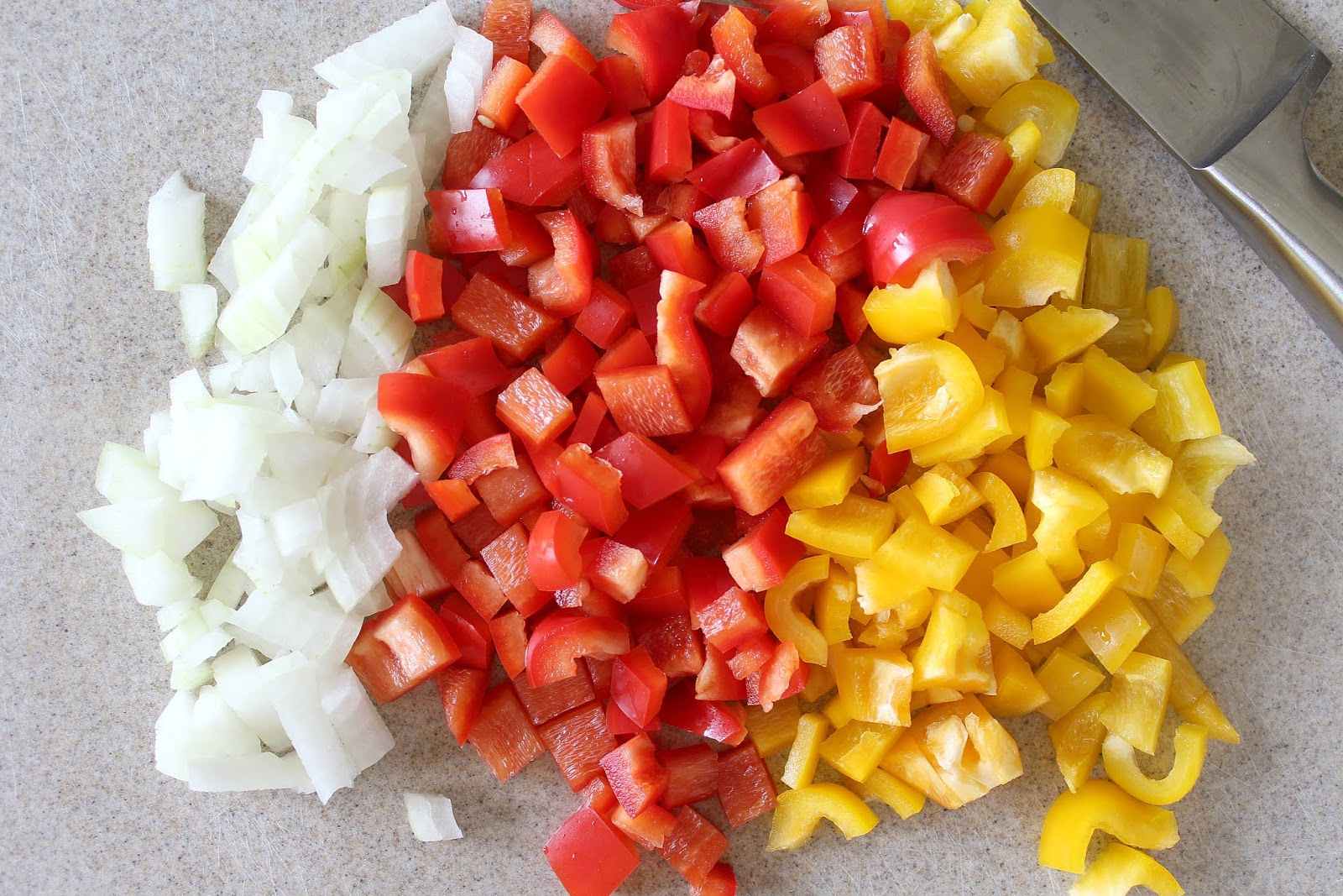 cut peppers and onions