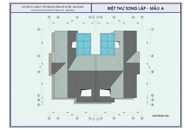 Mặt bằng thiết kế tầng mái biệt thự song lập mẫu A, Geleximco