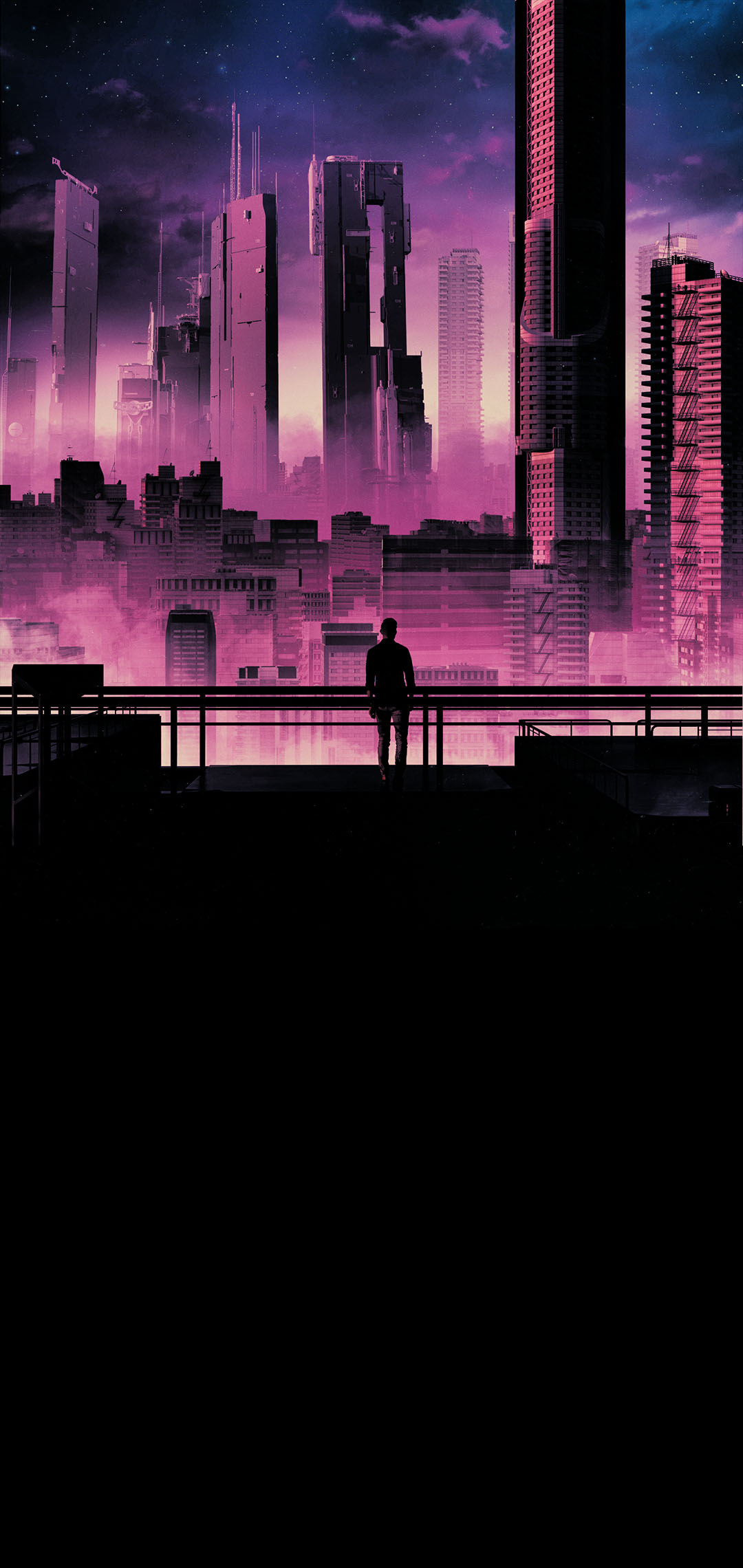 man silhouette and city background landscape phone wallpaper