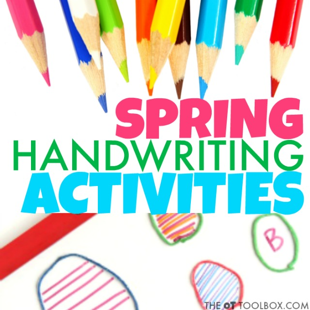 These spring handwriting activities are great for helping kids learn letter formation, sizing in letters, spacing in words, and legibility in handwriting.