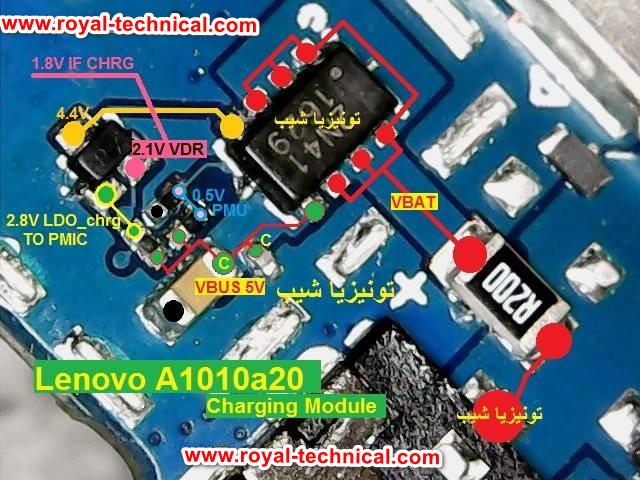حل إصلاح مشكلة الشحن Lenovo A1010a20