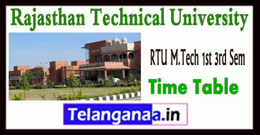 RTU M.Tech 1st 3rd Sem Time Table 2018 Admit Card Download
