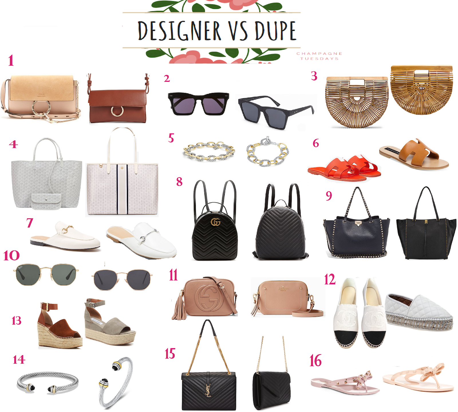 8c7d4c664fd Here it is people, the ULTIMATE round up of some of my favorite designer  items and their dupe look-alikes! I love to treat myself every now and  again (far ...
