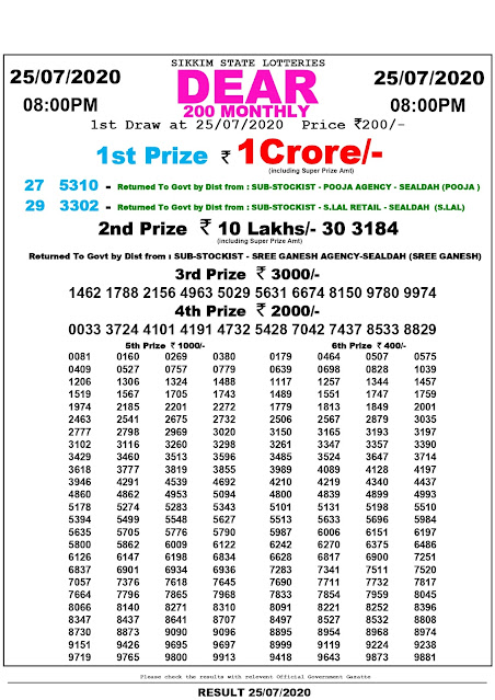 Lottery Sambad Dear 200 Monthly Lottery Results 25-07-2020 Sikkim State Lotteries