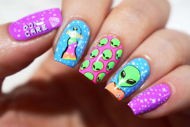 Neon alien nails inspired by Dorkface Blog's art, using the Wikkid Polish Bring on Spring Pastel Neons
