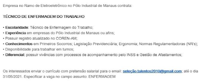 TÉCNICO DE ENFERMAGEM DO TRABALHO