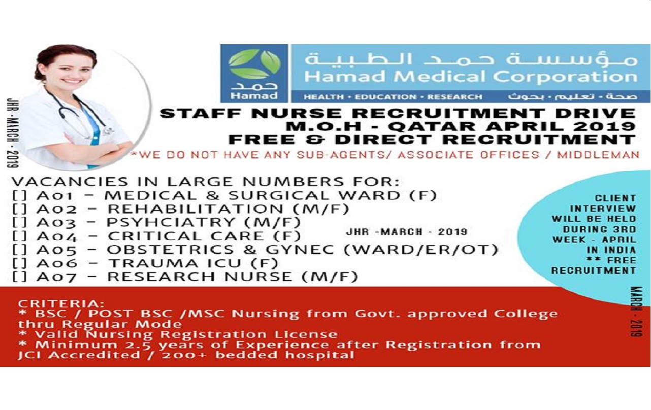 RECRUITMENT DRIVE FOR MINISTRY OF HEALTH - QATAR, FREE & DIRECT RECRUITMENT