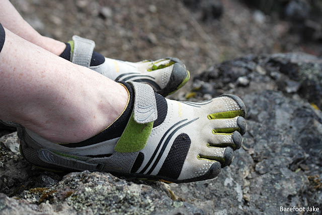 Woman hiking in vibram fivefingers