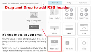 drag and drop rss header in mailchimp